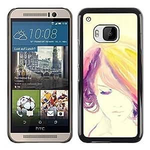 Paccase / SLIM PC / Aliminium Casa Carcasa Funda Case Cover - Woman Colorful Hair Purple - HTC One M9