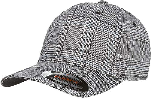 Original Flexfit Glen Check Plaid Hat Baseball Blank Cap Fitted Flex Fit 6196 Large/Xlarge - Black / White ()