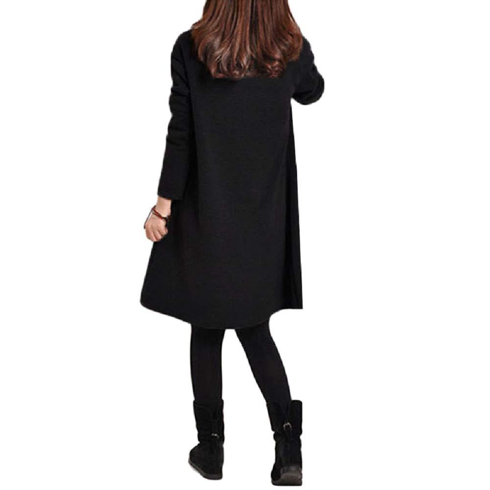 Romacci Women Casual Pocket Dress Long Sleeve Knee Length Spring