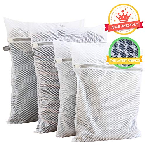 (Extra Large Heavy Duty Mesh Wash Laundry Bag- Pack of 4 (2 Extra Large + 2 Large ) 125gsm Net Fabric Durable and Reusable Wash bag,Travel Organization Bag for Clothes,Jeans,Bath Towels,Bed Sheets)