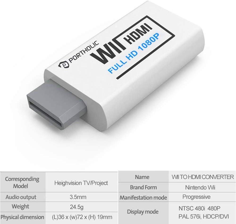 PORTHOLIC Convertidor Wii a HDMI Wii2HDMI 720P, 1080P Full HD adaptador con cable HDMI con salida de audio de 3,5 mm y puerto para Nintendo wii u&mini wii HDTV Proyector Beamer Monitor