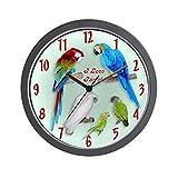 CafePress – I love Parrots Wall Clock – Unique Decorative 10″ Wall Clock