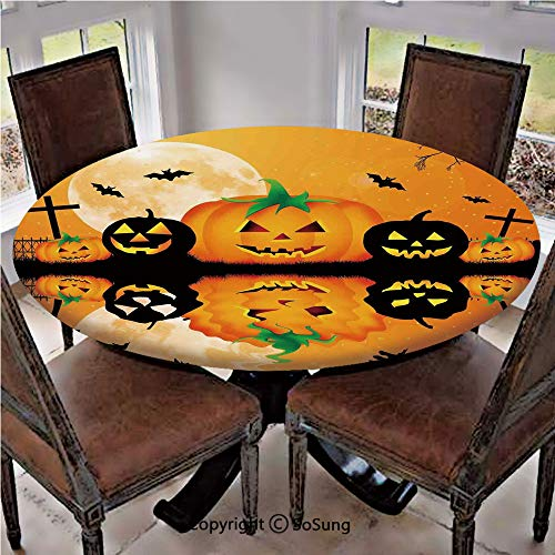 Elastic Edged Polyester Fitted Table Cover,Spooky Carved Halloween Pumpkin Full Moon with Bats and Grave Lake,Fits up 45