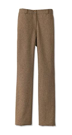 41a93e09f3b7 Donegal Tweed Flat-front Trousers / Petite, Light Brown, 6: Amazon.co.uk:  Clothing