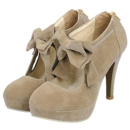 1 US Wedding Bowknot Platform Pumps M Zipper Suede Beige Heel High KID Stiletto Women's Pumps HooH B 5 TwFOzxzq