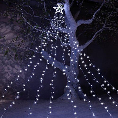 Star Lights 8 Modes with 12″ Tree-Top Star and 9 Stripes Fairy Lights Including 344 LEDs, Perfect Outdoor Decoration for New Year Wedding Party