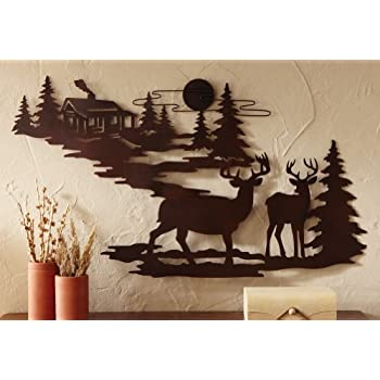 Amazon Com Pine Tree Stand Large Metal Wall Art