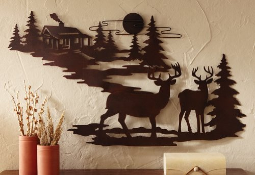 Woodland Cabin & Deer Metal Wall Art