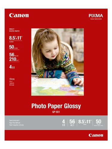 - CanonInk Photo Paper Glossy Letter Size, 50 Sheets (8649B003)