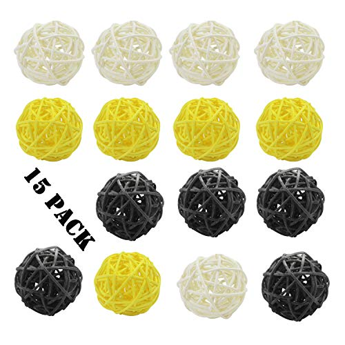 Luckkyme 15Pack Wicker Rattan Balls Decorative Orbs Vase Fillers for DIY Craft Project, Wedding Table Decoration, Themed Party, Baby Shower, Aromatherapy Accessories (3 Colors, 2 Inch) (Craft Rattan Balls)