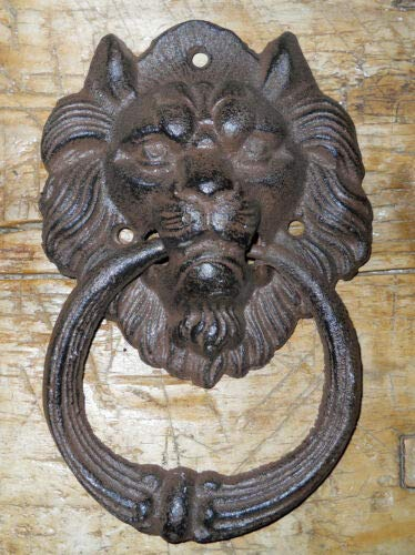 JumpingLight Cast Iron Antique Style Rustic Lion Head Door Knocker Brown Finish Cast Iron Decor for Vintage Industrial Home Accessory Decorative Gift