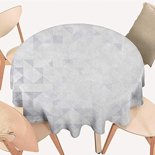 longbuyer Grey and White Dinning Tabletop Decoration Geometric Poly Artsy Triangles Abstract Pattern in Many Shades of Grey Round Tablecloth D 50
