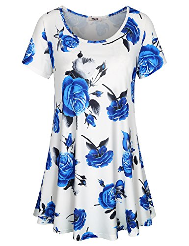 Hibelle Summer Tops for Women, Ladies Casual Shirts Short Sleeve Crewneck Floral Printed Patterned A Line Dressy Tunic Perfect Swing Hemline Knitted Lightweight Lovely Blouses White XL ()