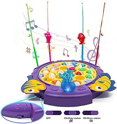 jerryvon Juego de Pesca de Mesa Educativos Juguetes con Sonido y Luz 3 Tipos de Interruptores Rotativos Coloridos Juguetes Eléctricos para Niños Niñas 3 4 5 Años: Amazon.es: Juguetes y juegos