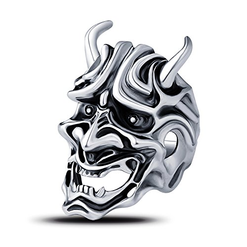 [EVBEA The Ring Mask Japanese Cool Statement Rings for Men Hannya Devil Ring (9)] (Japanese Costumes For Male)