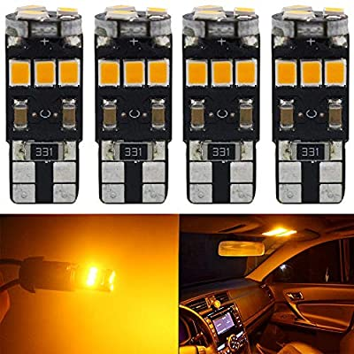 4-Pack T10 194 168 921 Amber/Yellow Extremely Bright Canbus Error Free LED Light 12V,9-SMD 2835 Chipsets Car Replacement Bulb for W5W 168 2825 Map Dome Courtesy License Plate Side Marker Light: Automotive