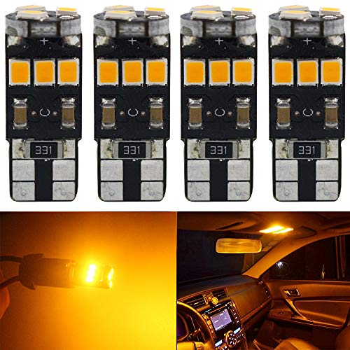 4 Pack T10 194 168 921 Amber Yellow Extremely Bright Canbus Error Free Led Light 12v 9 Smd 2835 Chipsets Car Replacement Bulb For W5w 168 2825 Map Dome Courtesy License Plate Side Marker Light