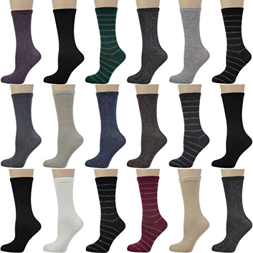 18-pair-nicole-miller-new-york-womens-lurex-sparkle-crew-casual-socks-ladies-pack-shoe-size-4-10