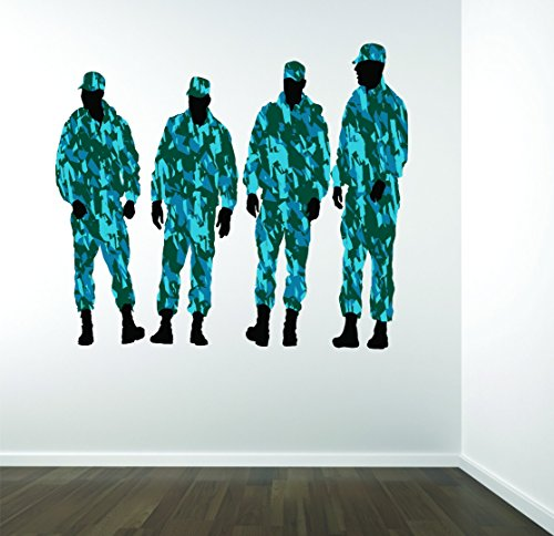 Design with Vinyl RAD 672 2 Uniformed Army Combat War Soldiers Silhouette Vinyl Wall Decal, As Seen, 16