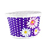 Farway 1PC Kid's Bike Bicycle Basket Front Decoration with 3 Pretty Flowers (Purple)