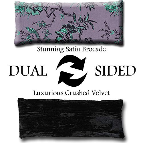 Microwavable Hot//Cold Unscented or Lavender Scented Yoga//Therapy Handmade Eye Pillow by Candi Andi Colorful Satin Brocade and Crushed Velvet TEP-BP Flax Seed Filled Birds in Paradise