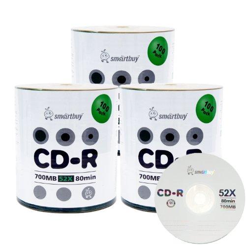 Smartbuy 300-disc 700mb/80min 52x CD-R Logo Top Blank Data Recordable Media Disc