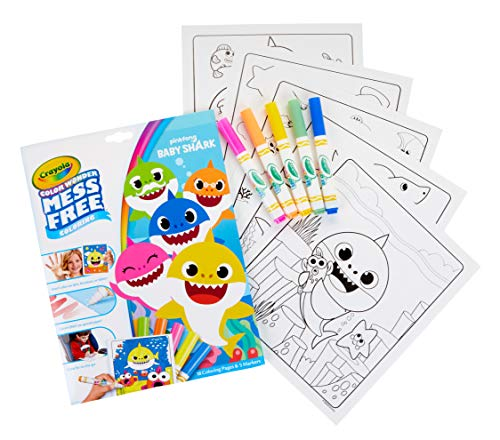 51blXtjg0LL - Crayola Baby Shark Coloring Pages, Color Wonder, Mess Free Coloring, Gift for Kids, Age 3, 4, 5, 6