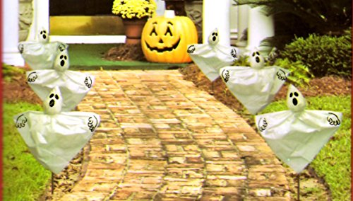 Set of 6 Halloween Ghosts Yard Stakes 19 in. Tall For Driveway Walkway Potted Plants Garden -