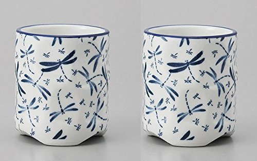 Japanese 3.5'' h ceramic Sushi Yunomi Tea cups Dragonfly design set of 2,10.1 ounce by Mino Ware