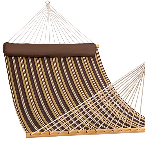 Lazy Daze Hammocks Quilted Fabric Double Size Spreader Bar Heavy Duty Stylish Hammock Swing with Pillow for Two Person, Classic Brown ()