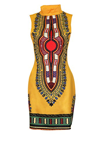 SheKiss Women Traditional African Print Dashiki Bodycon Sleeveless High Collar Dress Yellow (Best African Fashion Dresses)