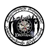 The Lord's Ring Vinyl Record Creative Wall Clock 12'Black Round-Handmade-Wall Hanging Clock Time Watch Kitchen-Art Home Decor Interior Design Children Room Living Bedroom Nursery Decoration-Best Gift for Kids Musician Singer Office and Studio