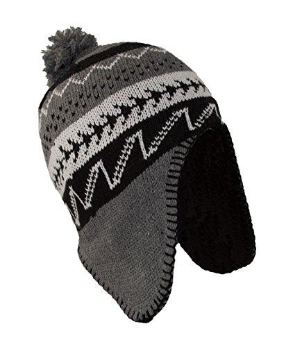 Peruvian Beanie Hat (MWS Peruvian Winter Hat Mens, Warm Aztec Pattern Sherpa Ski Beanie w/Fleece Lining)