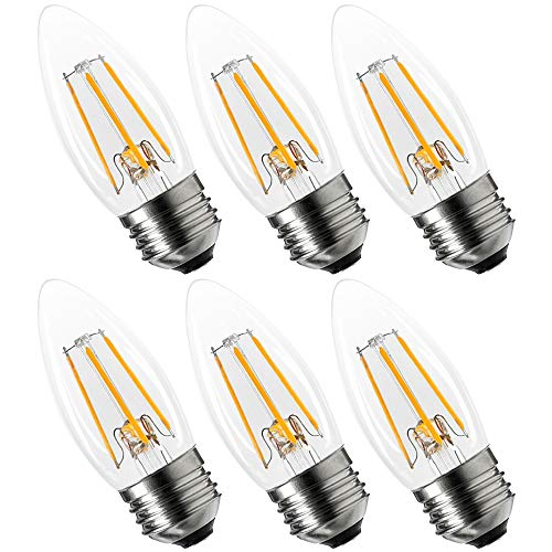 6-Pack Luxrite Edison LED Candle Bulb, 4W (40W Equivalent), 360 Lumens, Energy Star, 2700K Warm White, LED Dimmable Candelabra Bulb, Torpedo Tip, E26 Medium Base, UL Listed, Damp Rated