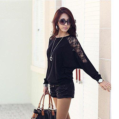 Han Shi Batwing Tops, Fashion Women Dolman Lace Long Sleeve Casual Loose T Shirt Blouse (L, Black)
