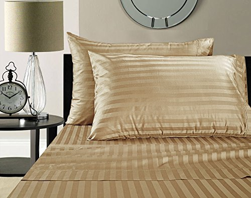 Addy Home Fashions  Egyptian Cotton 500 Thread Count Damask Stripe Sheet Set, King - Wheat