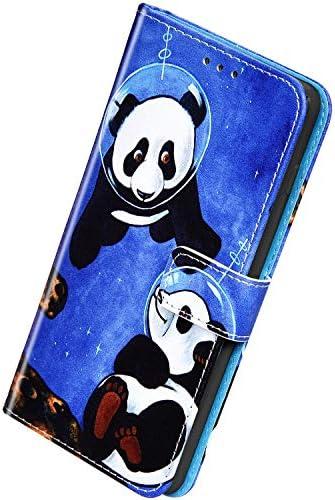 Herbests Kompatibel mit Samsung Galaxy S20 Handyhülle Hülle Flip Case Bunt Muster Leder Tasche Schutzhülle Klappbar Bookstyle Lederhülle Ledertasche mit Magnet Kartenfach,Coole Panda