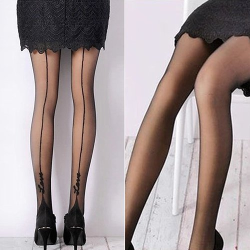 856store Comfortable Women Sexy English Love Letter Tattoo Jacquard Leggings Tights Pantyhose Stockings