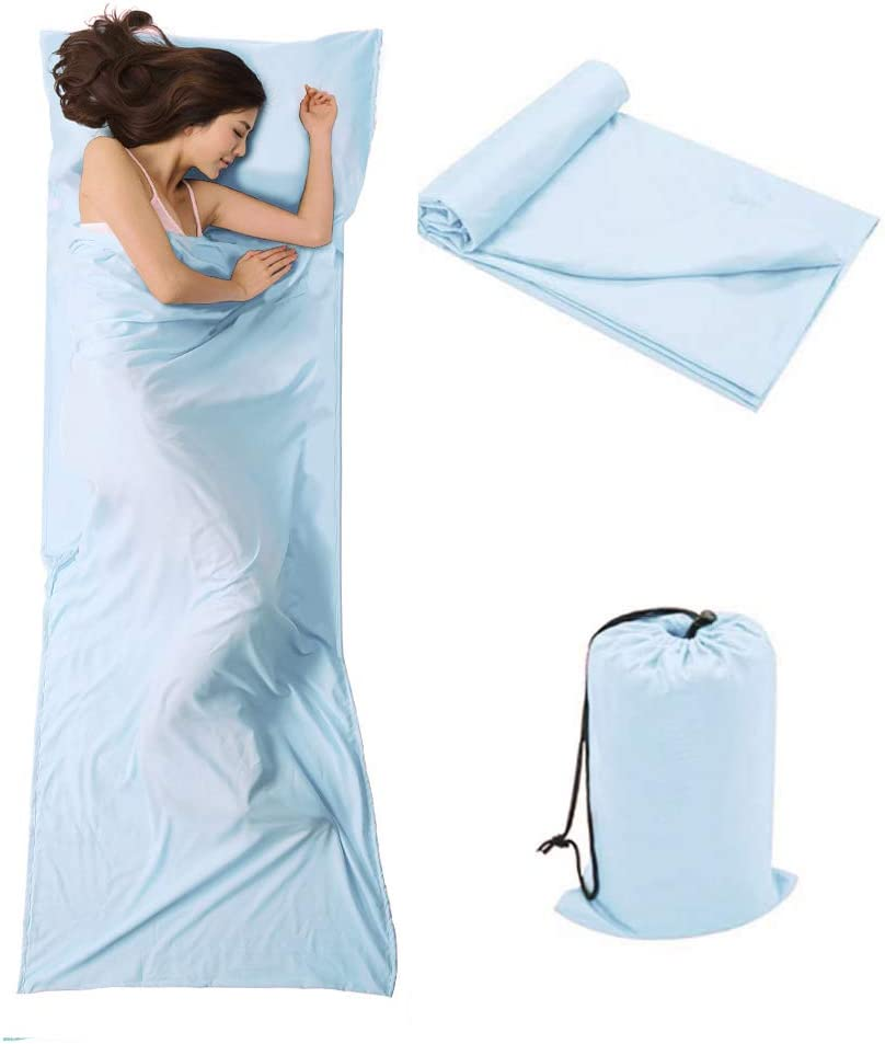 OTDEST Travel and Camping Sheet Sleeping Bag Liner - Lightweight Compact and Portable Adult Sleeping Bag- Ideal for Traveling, Hostels and Camping(Light Blue) : Sports & Outdoors