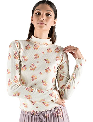 Rebel Canyon Young Women's Long Sleeve Ditsy Print Mock Neck Top Small Off White Ditsy -