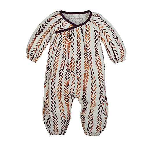 Burt's Bees Baby Baby Girl's Romper Jumpsuit, 100% Organic Cotton One-Piece Coverall, Eggshell Watercolor Chevron Wrap, 24 Months