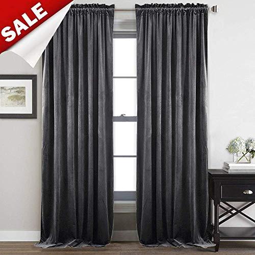 StangH Bedroom Velvet Curtains Grey - Luxury Decor Velvet Textured Blackout Heat Insulated Sliding Door Panel Drapes, 52 by 96-inch, 2 Panels Cotton Velour Drapery Panels