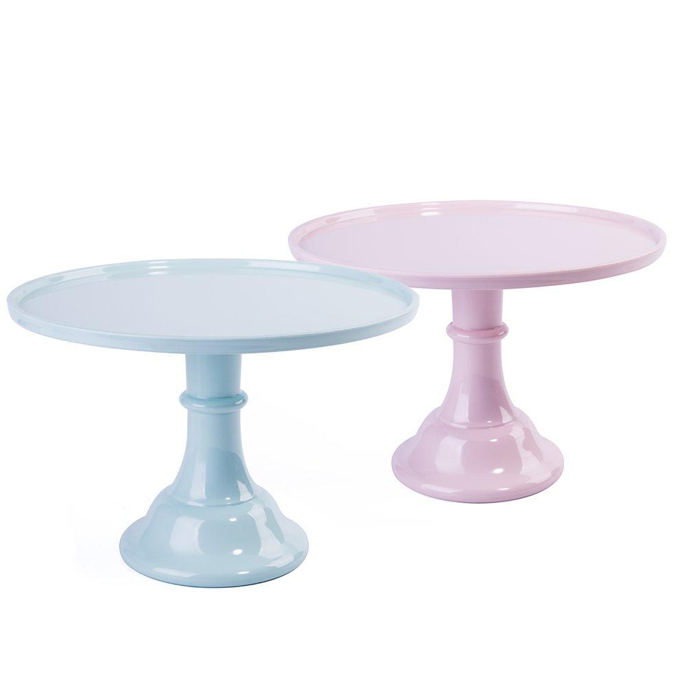 KLASKWARE 11'' Round Cake Stand Melamine Dessert Cupcake Display Stand Set of 2 (Light Pink & Mint Green) by KLASKWARE