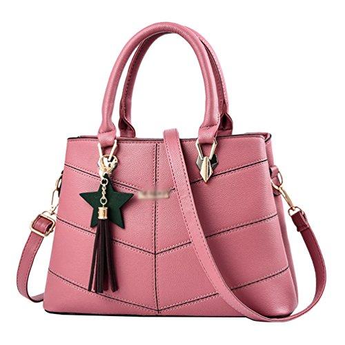 Baymate Moda Bolsos de Mujer Cuero PU Bolso De Mano Bolsa De Hombro Pink