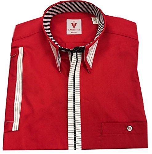 Leché Baumwollhemd, kurzarm, im knalligen Rot mit schwarz-weiß gestreifter Knopfleiste