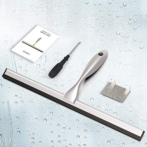 LPOLER Shower Squeegee AllPurpose Stainless Steel Shower Cleaner for Shower Doors Bathroom Window