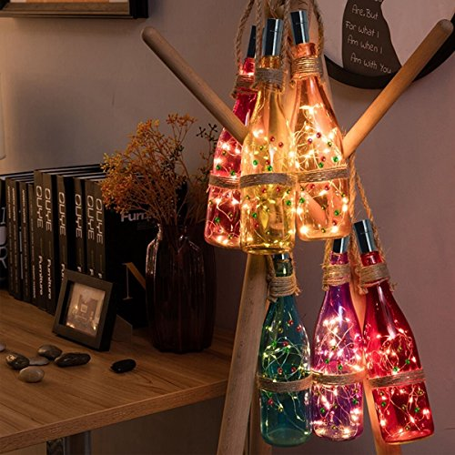 Wine Bottle Lights with Cork, 9.8Ft (3M) 30 Fairy Lights with 30 Colorful Bells, Christmas Light and Battery Low Voltage Power for Christmas Home Decoration Party Wedding(Warm White) (For Wind Chimes Pipes)