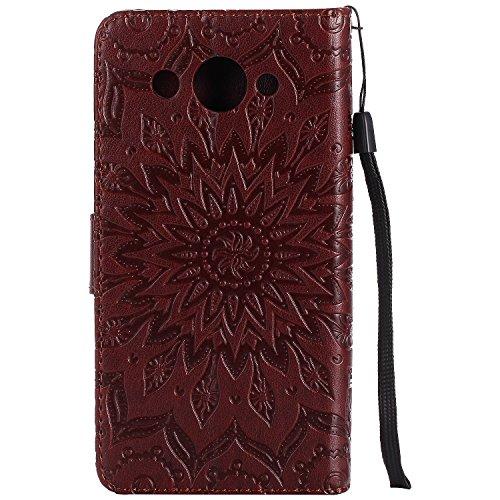 Qiaogle Teléfono Case - Funda de PU Cuero Billetera Clamshell Carcasa Cover para Huawei ShotX / Honor 7i (5.2 Pulgadas) - KT49 / Classic Embossed (Rose Dorado) KT46 / Classic Embossed (Marrón)