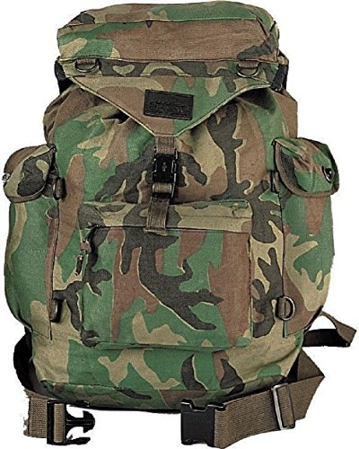 Woodland Camouflage Backpack - Military Canvas Outdoorsman Hiking...
