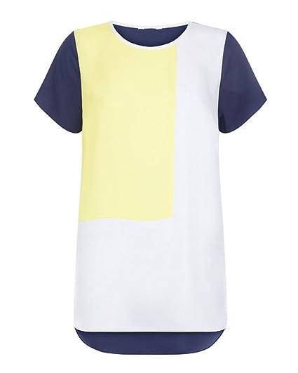 Camisetas de Gasa Mujer Blusa Casual de Manga Corta de Gasa de Color Block Moda Verano